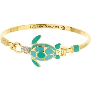 18K Gold Finish Crystal Eau Turtle Bangle - Cool Teal