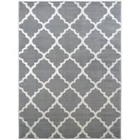 Home Basics Trellis Gray Tile Comtemporary Area Rug