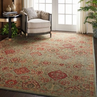 "Nourison Somerset Traditional Light Green Area Rug - 7'9"" x 10'10"""