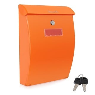 SereneLife SLMAB35 Modern Mount Locking Mailbox - Indoor Outdoor Universal Vertical Mounted Mail Box Large Capacity - Orange