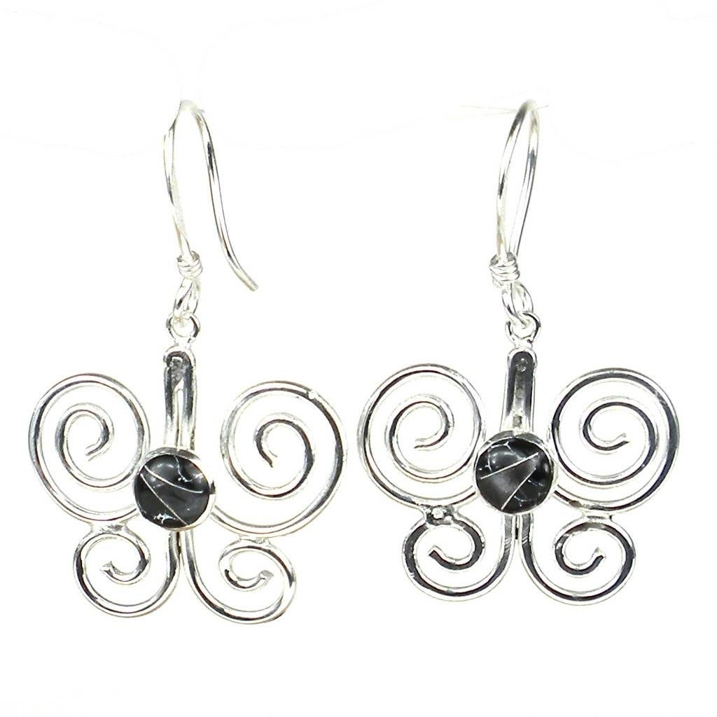 21ec7201c Shop Handmade Silver Butterfly Earrings with Black Mosaic Accent (Mexico) -  On Sale - Free Shipping On Orders Over $45 - Overstock - 23169524