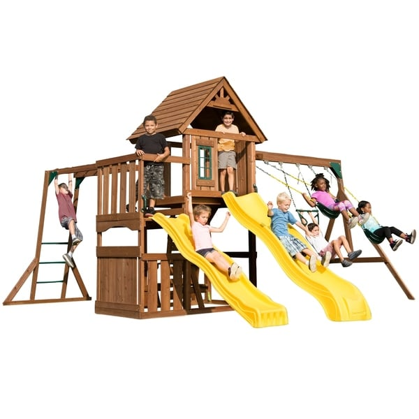 Shop Timberview Swing Set Free Shipping Today Overstock Com