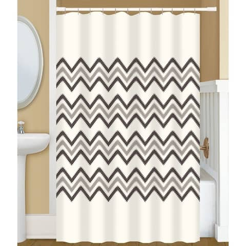 Gamma Extra Long Shower Curtain 78 x 72 Inch Big Chevron Stitch Print Off White And Brown Fabric