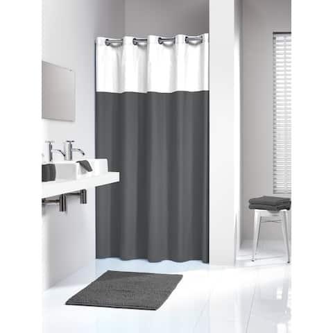 Sealskin Extra Long Hookless Shower Curtain 78 x 72 Inch Doppio Gray