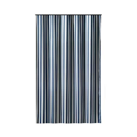 Gamma Extra Long Shower Curtain 78 x 72 Inch Deep Blue Stripes Fabric