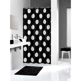 Sealskin Extra Long Shower Curtain 78 x 72 Inch Polka Black