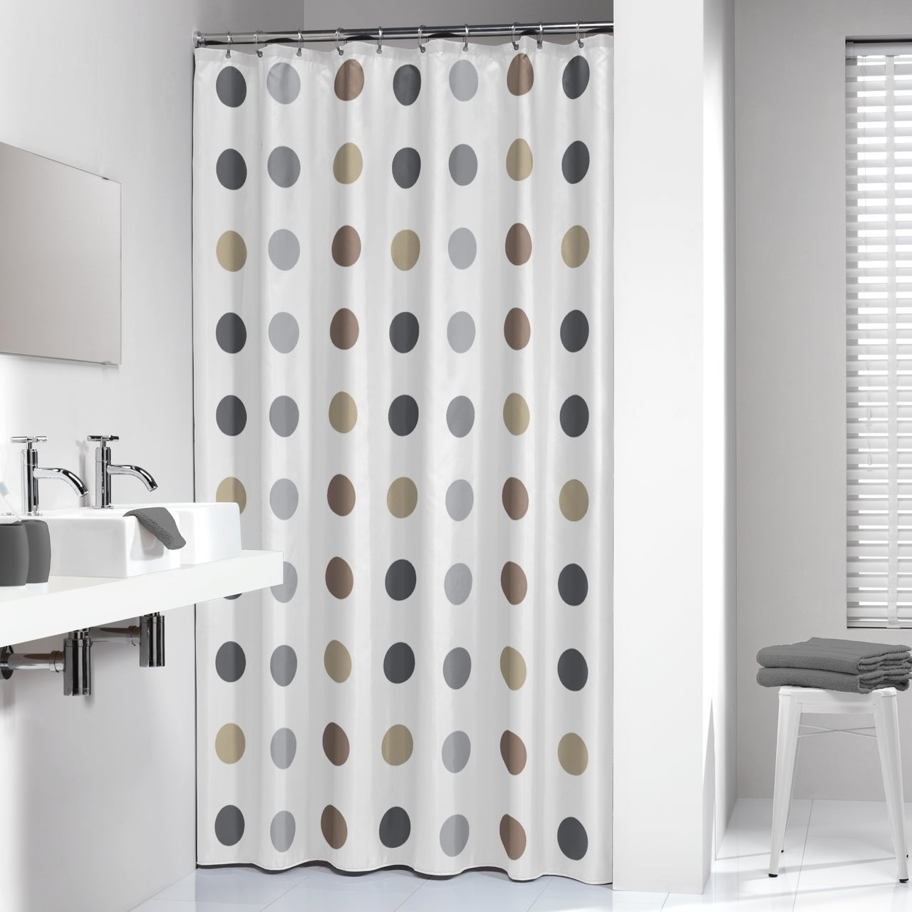 Sealskin Extra Long Shower Curtain 78 X 72 Inch Twister Taupe Fabric