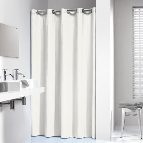 Sealskin Extra Long Hookless Shower Curtain 78 x 72 Inch Coloris Off-White Cotton
