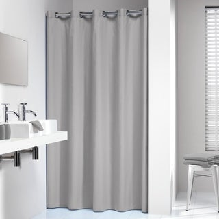 Sealskin Extra Long Hookless Shower Curtain 78 x 72 Inch Coloris Light Gray Cotton