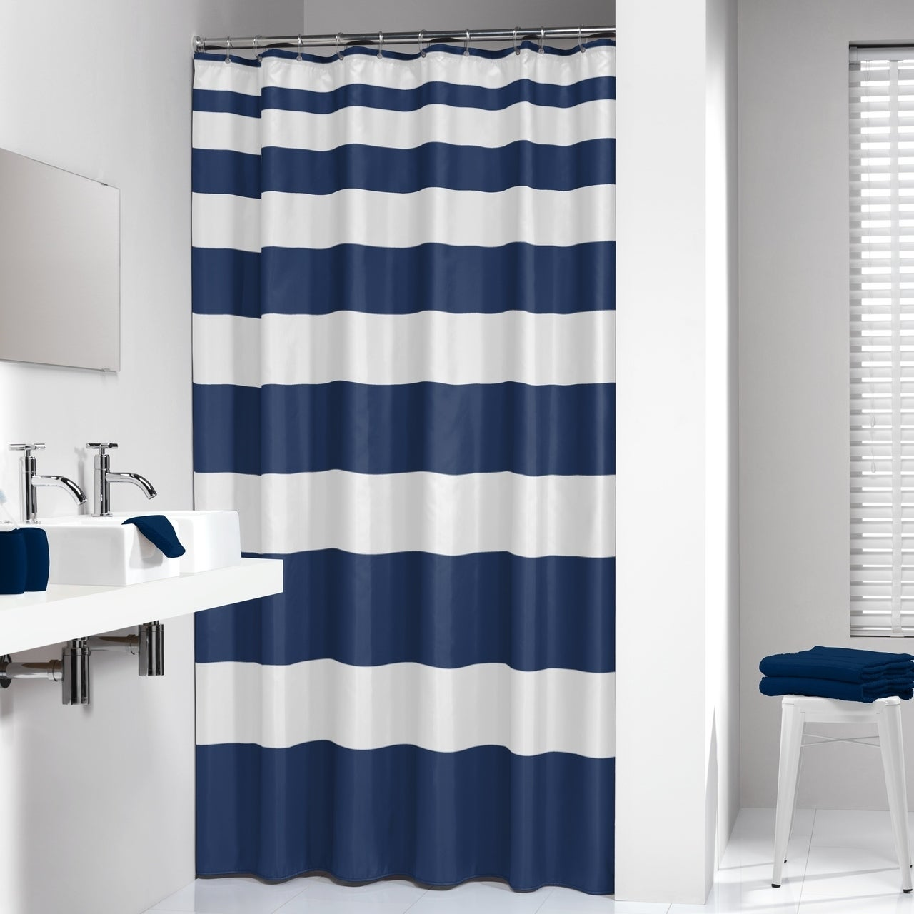 Sealskin Extra Long Shower Curtain 78 X 72 Inch Nautica Stripes Blue And White Fabric