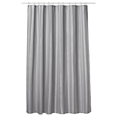 Gamma Extra Long Shower Curtain 78 x 72 Inch Dove Gray Fabric