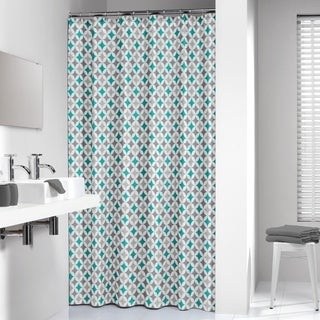 Sealskin Extra Long Shower Curtain 78 x 72 Inch Diamonds Aqua
