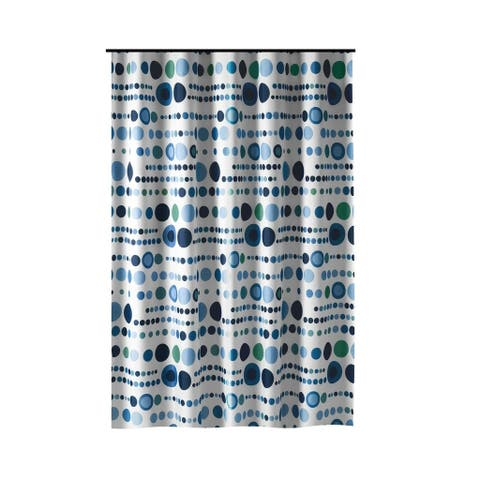 Gamma Extra Long Shower Curtain 78 x 72 Inch Polka Dot Blue Fabric