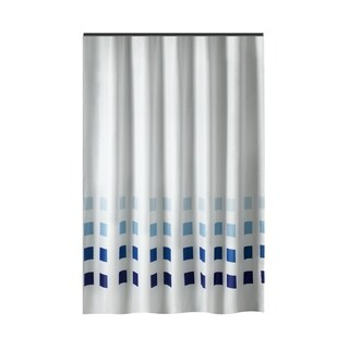 Gamma Extra Long Shower Curtain 78 x 72 Inch White With Blue Squares Fabric