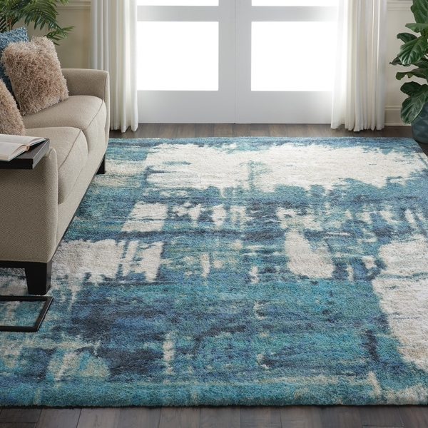 """Nourison Abstract Shag Blue/Grey Hand Tufted Area Rug - 7'6"""" x 9'6"""""""