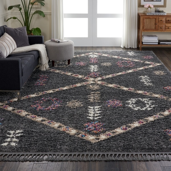 Shop Nourison Nordic Shag Grey Area Rug 9 X 12 On