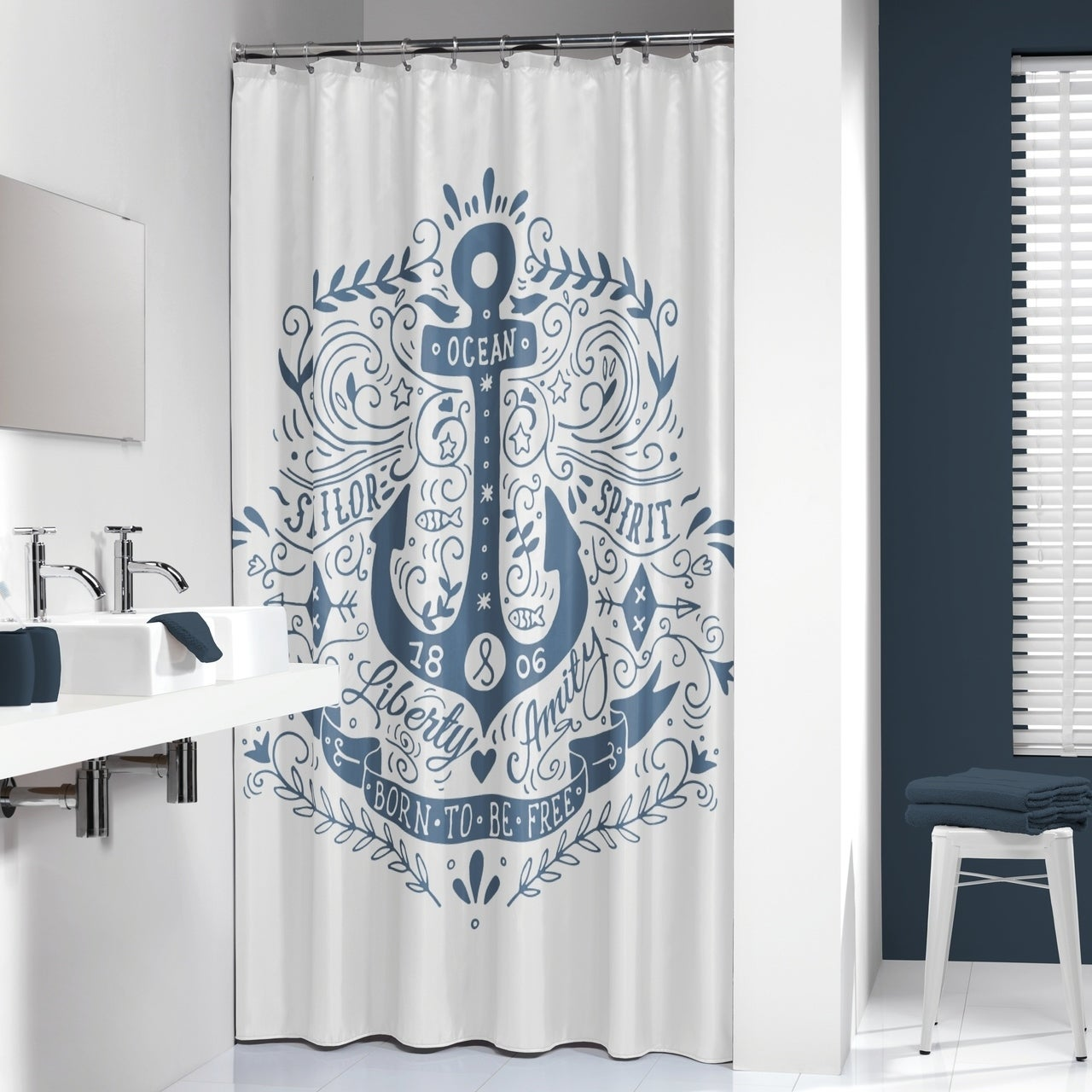 Sealskin Extra Long Shower Curtain 78 X 72 Inch Anchor Blue And