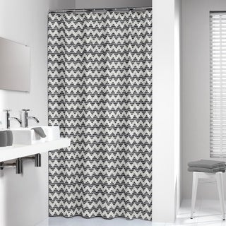 Sealskin Extra Long Shower Curtain 78 x 72 Inch Chevron Black Fabric