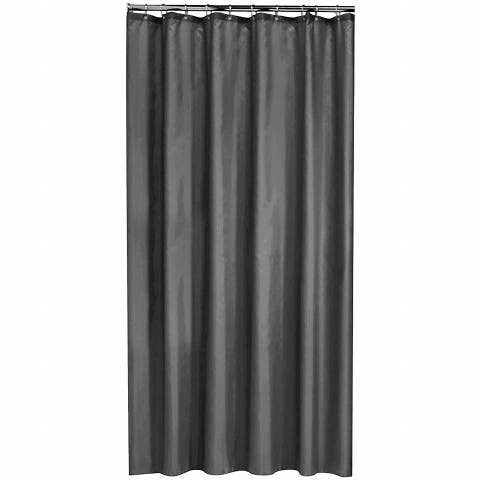 Gamma Extra Long Shower Curtain 78 x 72 Inch Dark Gray Fabric