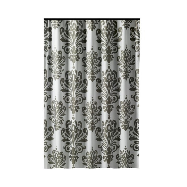 Shop Gamma Extra Long Shower Curtain 78 X 72 Inch Gray And White