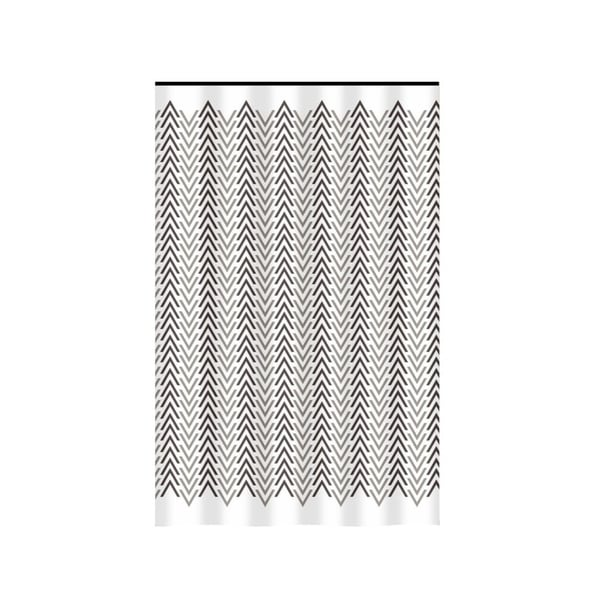 Gamma Extra Long Shower Curtain 78 x 72 Inch Brown And Taupe Chevron Fabric
