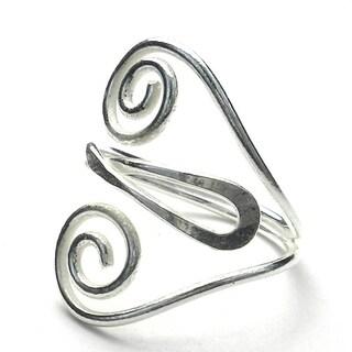 Handmade Silver Swirl Heart Ring (Mexico)