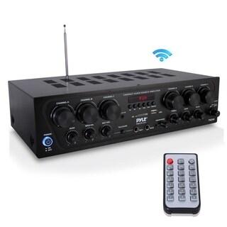 Pyle PTA62BT Wireless Bluetooth Karaoke 6 Channel 750 Watt Home Audio Sound Power Stereo Receiver Amplifier 2 Microphone Input