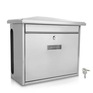 Serenelife SLMAB08 Modern Wall Mount Lockable Mailbox Outdoor Galvanized Metal Key Large Capacity (White)