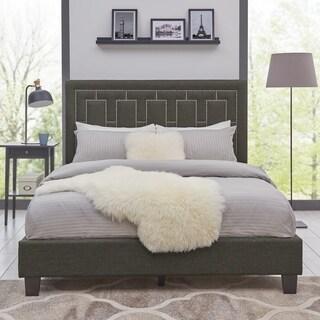 Handy Living Lisbon Queen-sized Charcoal Grey Textured Linen Upholstered Bed