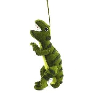 Handmade Felt Green T-Rex Ornament (Kyrgyzstan)