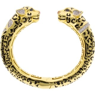 18K Gold Finish CZ Sweet Leopard Bangle - Black