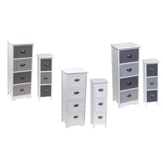 Evideco 3 or 4 Drawers Storage Unit Wood -Metal Handles