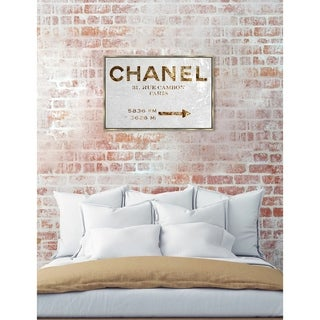 Oliver Gal 'Couture Road Sign' Fashion Framed Art Print on Premium Canvas - White