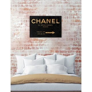 Oliver Gal 'Couture Road Sign Night' Fashion Framed Art Print on Premium Canvas - Black
