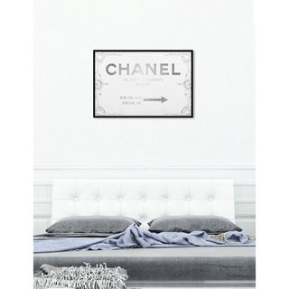 Oliver Gal 'Couture Sign' Fashion Framed Art Print on Premium Canvas - Grey/White