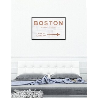 Oliver Gal 'Boston Road Sign Copper' Cities Framed Art Print on Premium Canvas - White