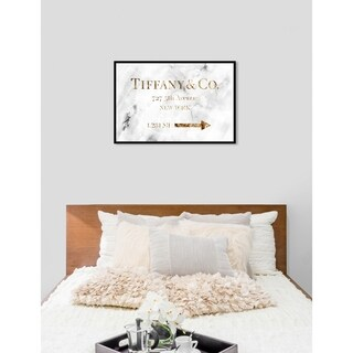 Oliver Gal 'Jewelry Road Sign Glam' Fashion Framed Art Print on Premium Canvas - White