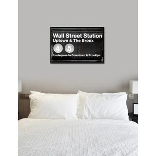 Oliver Gal 'Wall Street Station' Cities Framed Art Print on Premium Canvas - Black