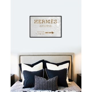 Oliver Gal 'Faubourg Road Sign White Velvet' Cities Framed Art Print on Premium Canvas