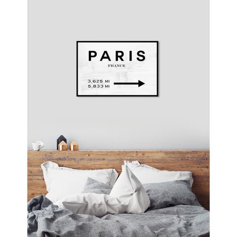 Oliver Gal 'Paris Fashion Sign Black' Cities Framed Art Print on Premium Canvas - White
