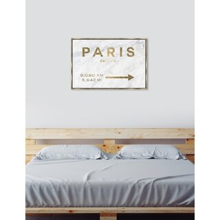 Oliver Gal 'Paris to LA Road Sign Marble' Cities Framed Art Print on Premium Canvas - GOLD