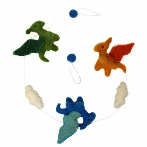 The Curated Nomad Thrift Handmade Felt Dragon Hanging Garland