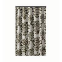 Gamma Extra Long Shower Curtain 78 x 72 Inch Brown And White Baroque Fabric