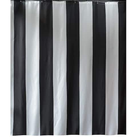 Gamma Extra Long Shower Curtain 78 x 72 Inch Black Stripes Fabric