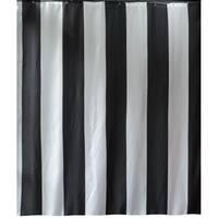 Gamma Extra Long Shower Curtain 78 x 72 Inch Black Stripes Fabric