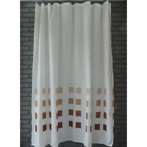 Shop Gamma Extra Long Shower Curtain 78 X 72 Inch White With Brown Squares Fabric Overstock 23171363