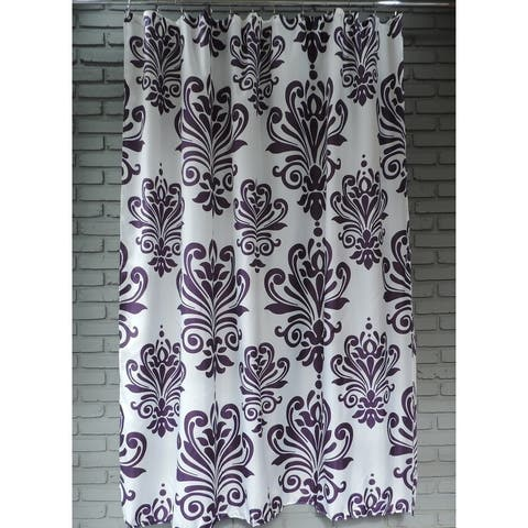 Gamma Extra Long Shower Curtain 78 x 72 Inch Purple And White Baroque Fabric