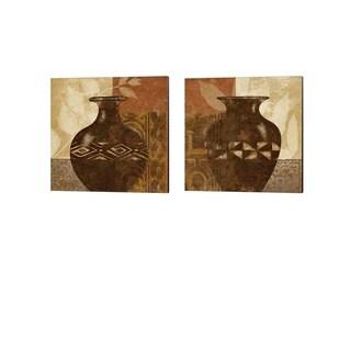 Alonzo Saunders 'Ethnic Vase' Canvas Art (Set of 2)