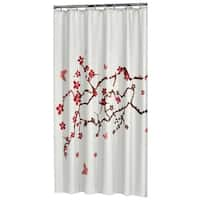 Sealskin Extra Long Shower Curtain 78 x 72 Inch Blossom Print White Fabric