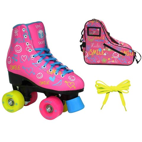 Epic Blush High-Top Indoor Outdoor Quad Roller Skate Limited Edition Bundle